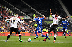 Lasse Vibe of Brentford gets past Bradley Johnson of Derby County and takes on Richard Keogh of Derby County - Mandatory byline: Robbie Stephenson/JMP - 07966 386802 - 03/10/2015 - FOOTBALL - iPro Stadium - Derby, England - Derby County v Brentford - Sky Bet Championship