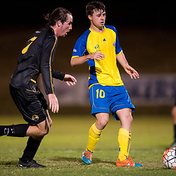 BRISBANE, AUSTRALIA - AUGUST 26: Jake McLean of the Strikers passes the ball during the NPL Queensland Senior Men's Semi Final match between Brisbane Strikers and Moreton Bay Jets at Perry Park on August 26, 2017 in Brisbane, Australia. (Photo by Patrick Kearney)