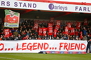 Accrington fans [paying tribute to Billy Kee the former Accrington Striker who recently retired at the age of 29, during the EFL Sky Bet League 1 match between Accrington Stanley and AFC Wimbledon at the Fraser Eagle Stadium, Accrington, England on 1 February 2020.