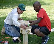 Blue Cross Blue Shield volunteers for KaBoom playground building event. Catalyst Maria School, 6727 S. California.