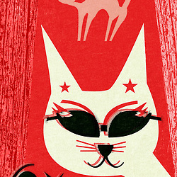 Mid Century Scandinavian Beatnik Cool Cat illustration retro design by Hedvig Desh with red background and textured overlays