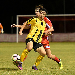 BRISBANE, AUSTRALIA - APRIL 13: Kyusub Bang of Moreton Bay controls the ball under pressure from Jordan Zabel of Olympic FC during the NPL Queensland Senior Men's Round 4 match between Olympic FC and Moreton Bay Jets at Goodwin Park on April 13, 2017 in Brisbane, Australia. (Photo by Patrick Kearney/Olympic FC)