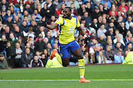 Yannick Bolasie of Everton celebrates after scoring his teams 1st goal. Premier League match, Burnley v Everton at Turf Moor in Burnley , Lancs on Saturday 22nd October 2016.<br /> pic by Chris Stading, Andrew Orchard sports photography.
