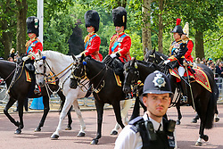 © Licensed to London News Pictures.  08/06/2019. London, UK. Prince William, Duke of Cambridge (2nd L) rides with Prince Andrew, Duke of York and Princess Anne (R) on The Mall as they make their way to Horse Guards Parade for Trooping the Colour ceremony, which marks the 93rd birthday of Queen Elizabeth II, Britain's longest reigning monarch. Photo credit: Dinendra Haria/LNP
