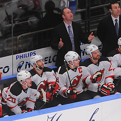 May 14, 2012: New Jersey Devils head coach Peter DeBoer reacts to a penalty called on his team during first period action in game 1 of the NHL Eastern Conference Finals between the New Jersey Devils and New York Rangers at Madison Square Garden in New York, N.Y.