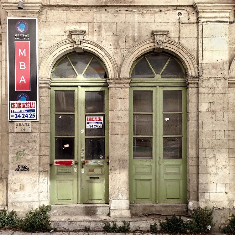 A closed down shop in Evans Str, Heraklion, Crete