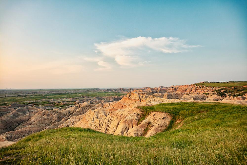 South Dakota, Badlands, National Park, National Forest, Bureau of land management, BLM, Roadtrip, travel, adventure, landscape, golden, morning, sunrise, Copyspace, hike, walk, explore, United States