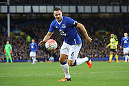 Phil Jagielka of Everton in action. The Emirates FA cup, 3rd round match, Everton v Dagenham & Redbridge at Goodison Park in Liverpool on Saturday 9th January 2016.<br /> pic by Chris Stading, Andrew Orchard sports photography.