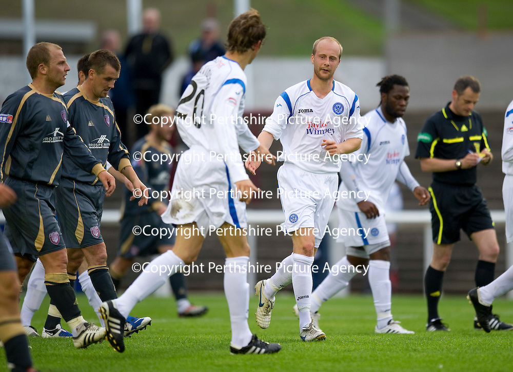 Arbroath v St Johnstone....21.07.10   pre-season friendly<br /> Trialist Stewart Duff celebrates his wonderful volley with Murray Davidson that made it w-0 to saints<br /> Picture by Graeme Hart.<br /> Copyright Perthshire Picture Agency<br /> Tel: 01738 623350  Mobile: 07990 594431