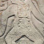 Detail of stone carving at Monte Alban archeological site