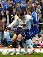Photo: Ed Godden/Sportsbeat Images.<br /> Chelsea v Tottenham Hotspur. The FA Cup. 11/03/2007.<br /> Chelsea's Lassana Diarra (R), holds back Teemu Tainio.