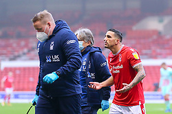 Tiago Silva of Nottingham Forest remonstrates with the officials after receiving a knock to his nose - Mandatory by-line: Nick Browning/JMP - 29/11/2020 - FOOTBALL - The City Ground - Nottingham, England - Nottingham Forest v Swansea City - Sky Bet Championship
