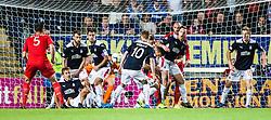Falkirk's defenders scramble clear. Falkirk 0 v 2 Rangers, Scottish Championship game played 15/8/2014 at The Falkirk Stadium.