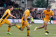 Newport County's Mark O' Brien © turns and celebrates after scoring his sides crucial match winning goal. EFL Skybet football league two match, Newport county v Notts County at Rodney Parade in Newport, South Wales on Saturday 6th May 2017.<br /> pic by David Richards, Andrew Orchard sports photography.