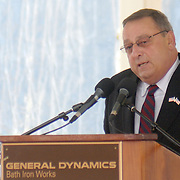 5/7/11 -- BATH, Maine. Maine Gov. Paul LePage speaks to the crowd during the Christening of U.S. Navy Destroyer Michael Murphy on Saturday, May 7, 2011 at Bath Iron Works. The 509-foot ship was named for Lieutenant Michael Murphy, whose bravery under fire in Afghanistan in June, 2005 led to the posthumous award of the Medal of Honor..The ceremony included speeches by Gov. LePage, Chief of Naval Operations - Admiral Gary Roughead, Senator Olympia Snowe, Representatives Mike Michaud and Chellie Pingree as well as ship sponsor, Maureen and Dan Murphy, parents of Lieutenant Murphy. Photo by Roger S. Duncan.