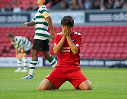 LIVERPOOL, ENGLAND - Wednesday, August 17, 2011: Liverpool's 'Suso' Jesus Fernandez Saez looks dejected after blazing a shot over the bar against Sporting Clube de Portugal during the first NextGen Series Group 2 match at Anfield. (Pic by David Rawcliffe/Propaganda)