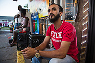 Abdullah Muflahi, the owner of Triple S convenience store where Alton Sterling was killed by police, during a vigil for Sterling on May 2, 2017, the night news leaked that the DOJ would not charge the police involved in shooting Sterling last summer at short range.