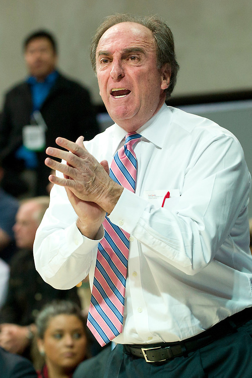 DALLAS, TX - FEBRUARY 6: Temple Owls head coach Fran Dunphy has words with his team against the SMU Mustangs on February 6, 2014 at Moody Coliseum in Dallas, Texas.  (Photo by Cooper Neill) *** Local Caption *** Fran Dunphy