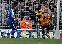 Photo: Ed Godden.<br />Wolverhampton Wanderers v Cardiff City. Coca Cola Championship. 11/03/2006. <br />Denes Rosa (R) scores for Wolves.