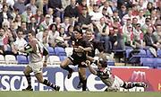Reading, England,  Nick GREENSTOCK. Tackling during the European Shield Final, at the Madeski Stadium, NEC Harlequins v RC Narbonne.<br /> [Mandatory Credit, Peter Spurrier/ Intersport Images].