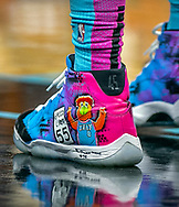 Miami Heat center Bam Adebayo (13), wears a colorful pair of basketball shoes on the court as the Miami Heat <br /> host the Washington Wizards at the AmericanAirlines Arena in Miami on Friday, December 6, 2019.