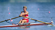 Barcelona Olympic Games 1992<br /> Olympic Regatta - Lake Banyoles<br /> CAN W1X. Silken Laumann, Rowing,  with Bandaged Leg, after a collision with another boat at an earlier European Regatta, {Mandatory Credit: © Peter Spurrier/Intersport Images]