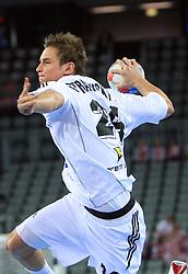 Martin Stranovsky (24) of Slovakia during 21st Men's World Handball Championship 2009 Main round Group I match between National teams of Slovakia and Korea, on January 24, 2009, in Arena Zagreb, Zagreb, Croatia.  (Photo by Vid Ponikvar / Sportida)