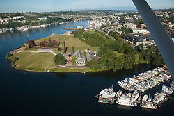 North America, United States, Washington, Seattle, aerial view of Gasworks Park and Lake Union from seaplane