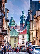 Krakow 2019-07-20. Ulica Szpitalna w Krakowie, widok w kierunku Małego Rynku.