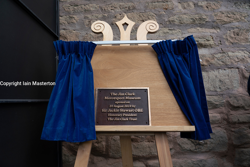 Official opening day of new Jim Clark Motorsport Museum in Duns, Scotland, UK. Pictured. Plaque after unveiling by Sir Jackie Stewart.