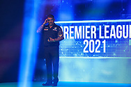 Gary Anderson enters the arena during the Premier League Darts at Marshall Arena, Milton Keynes, United Kingdom on 5 April 2021.