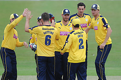 Joe Gatting of Hampshire celebrates with his team mates after catching out Chris Dent of Gloucestershire - Photo mandatory by-line: Dougie Allward/JMP - Mobile: 07966 386802 - 14/07/2015 - SPORT - Cricket - Cheltenham - Cheltenham College - Natwest T20 Blast