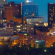 Panoramic, close up view of downtown Kansas City, Missouri skyline at dusk from Waterworks Park, Sunday, September 21, 2014.