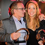 NLD/Amsterdam/20111207- Radiobitches Awards 2011, winnaar Bitches Bastard 2011 Jeroen van Inkel en Patricia van Liemt, winnares Backstagebitch Award 2011