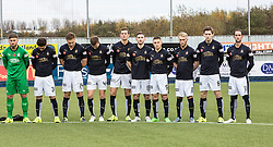 Before the action on the pitch, Falkirk FC took time to pause and remember all those who had lost their lives in past wars as well as all those who lost their lives during the recent tragic events in Paris.<br /> Falkirk 5 v 0 Alloa Athletic, Scottish Championship game played at The Falkirk Stadium.