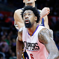25 November 2015: Los Angeles Clippers center DeAndre Jordan (6) vies for the rebound with Utah Jazz center Rudy Gobert (27) during the Utah Jazz 102-91 victory over the Los Angeles Clippers, at the Staples Center, Los Angeles, California, USA.