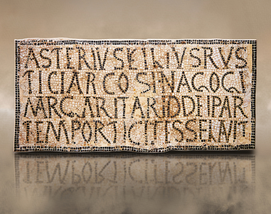 """6th century Inscription of the great hall of the synagogue of Nam-Ham-mam-Lif in the Roman province of Africa Proconsularis, present day Tunisia. The mosaic floor of the vestibule (porticus) was an offering from Asterius son of Rusticus, the Head of the Jewish community who was working in the Naro jewellers trade. The mosaic reads in Latin  """"Asterius, filius Rustici, arcosinagogi, margaritari, (de d(onis) dei partemporticites-selavit"""".  The Bardo National Museum, Tunis Tunisia<br /> <br /> The so called synagogue of Naro (Hammam-Lif, Tunisia), discovered in 1883, is a square buil-ding (20 by 20 m), consisting of several rooms and hallways communicating with an inner courtyard. The plan is inspired by traditional domestic architecture of Roman Africa. The room, dedicated to religious ceremonies, was paved with a magnificent mosaic of several figured panels with an iconography highlighting Judaeo-Christian concepts, attesting a proselyte attitude addressing a local Judaic community, who was very active between the late fifth c. and the early sixth century AD."""