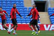 Gareth Bale of Wales ® and Joe Ledley of Wales (l) in action during the Wales football team training at the Cardiff city Stadium in Cardiff , South Wales on Friday 1st September 2017.  the team are preparing for their FIFA World Cup qualifier home to Austria tomorrow.  pic by Andrew Orchard, Andrew Orchard sports photography