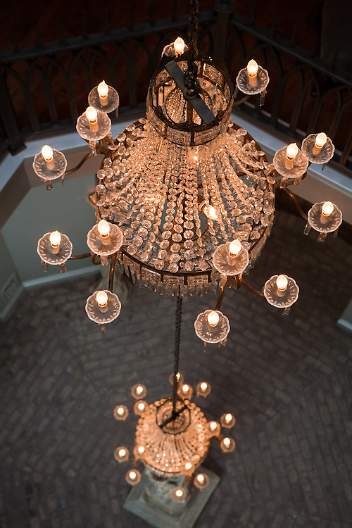 Looking down on the chandeliers from the top level of Gertrude Zacharys house in downtown Albuquerque New Mexico...CREDIT: Steven St. John for The Wall Street Journal