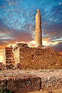 Column from the temple of Apollo, the Greek archaeological site of Ancient Aegina, Kolna, Greek Saronic Islands ..<br /> <br /> If you prefer to buy from our ALAMY PHOTO LIBRARY  Collection visit : https://www.alamy.com/portfolio/paul-williams-funkystock/aegina-greece.html <br /> <br /> Visit our GREECE PHOTO COLLECTIONS for more photos to download or buy as wall art prints https://funkystock.photoshelter.com/gallery-collection/Pictures-Images-of-Greece-Photos-of-Greek-Historic-Landmark-Sites/C0000w6e8OkknEb8