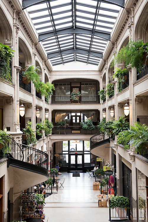 Many eateries, shops, galleries, and offices fill the historic Grove Arcade building which was built in 1929 by Edwin Wiley Grove. It is located on Battery Hill in Downtown Asheville, North Carolina.