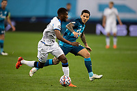 SAINT-PETERSBURG, RUSSIA - OCTOBER 20: Clinton Mata of Club Brugge KV and Sebastián Driussi of Zenit St Petersburg in action during the UEFA Champions League Group F match between Zenit St Petersburg and Club Brugge KV at Gazprom Arena on October 20, 2020 in Saint-Petersburg, Russia [Photo by MB Media]