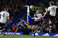 Diego Costa of Chelsea tries an overhead kick at goal.  Barclays Premier league match, Chelsea v Tottenham Hotspur at Stamford Bridge in London on Monday 2nd May 2016.<br /> pic by Andrew Orchard, Andrew Orchard sports photography.