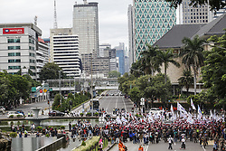 May 1, 2019 - Jakarta, Jakarta, Indonesia - Thousand of labourers seen gathered  during the rally to mark International Workers' Day in Jakarta..Protesters across Indonesia have organized rallies to demand for better working conditions. (Credit Image: © Agoes Rudianto/SOPA Images via ZUMA Wire)