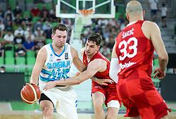 Luka Doncic of Slovenia vs Mario Hezonja of Croatia during friendly basketball match between National teams of Slovenia and Croatia, on June 18, 2021 in Arena Stozice, Ljubljana, Slovenia. Photo by Vid Ponikvar / Sportida
