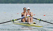 Bled, SLOVENIA,  Bow, Jessica EDDIE and  Alison KNOWLES. GBR W2-. move away from the start in their heat of the women's pair, on the opening day, FISA World Cup, Bled venue, Lake Bled.  Friday  28/05/2010  [Mandatory Credit Peter Spurrier/ Intersport Images]