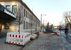 Germany, Freiburg - December 18, 2018.Gardens crew plants new trees along a street in the city center (Credit Image: © Antonio Pisacreta/Ropi via ZUMA Press)