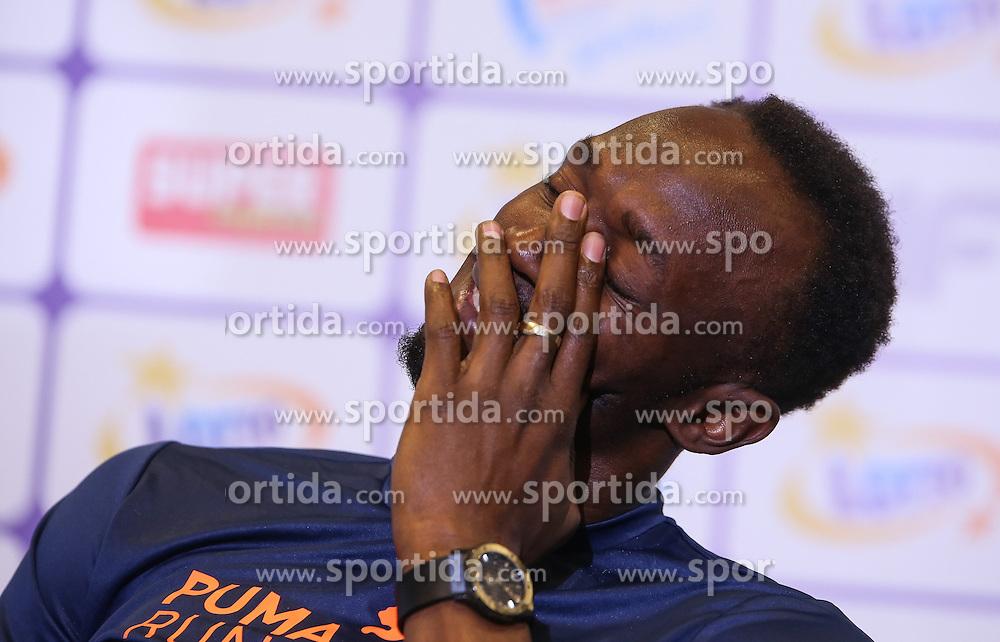 20.08.2014, National Stadion, Warschau, POL, Pressekonferenz, Usain Bold, im Bild Usain Bold (JAM) // Usain Bold of Jamaica // during a press conference in memorial Kamila Skolimowska at the National Stadion in Warschau, Poland on 2014/08/20. EXPA Pictures © 2014, PhotoCredit: EXPA/ Newspix/ KRZYSZTOF BURSKI<br /> <br /> *****ATTENTION - for AUT, SLO, CRO, SRB, BIH, MAZ, TUR, SUI, SWE only*****