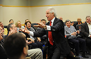 "Benjamin Zander, conductor of the Boston Philharmonic Orchestra and the Boston Philharmonic Youth Orchestra, leads a group of executives in singing ""Happy Birthday"" with gusto, during a workshop at Babson College's annual CEO Roundtable Retreat, Jan. 22, 2015. <br /> Wicked Local staff photo / Kate Flock"