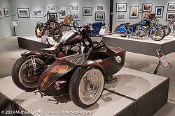 Fred's Speed and Sports' (f. 1978) Fred Cuba's Ghetto Cruiser custom Fatboy and sidecar in the More Mettle - Motorcycles and Art That Never Quit exhibition in the Buffalo Chip Events Center Gallery during the Sturgis Motorcycle Rally. SD, USA. Wednesday, August 11, 2021. Photography ©2021 Michael Lichter.